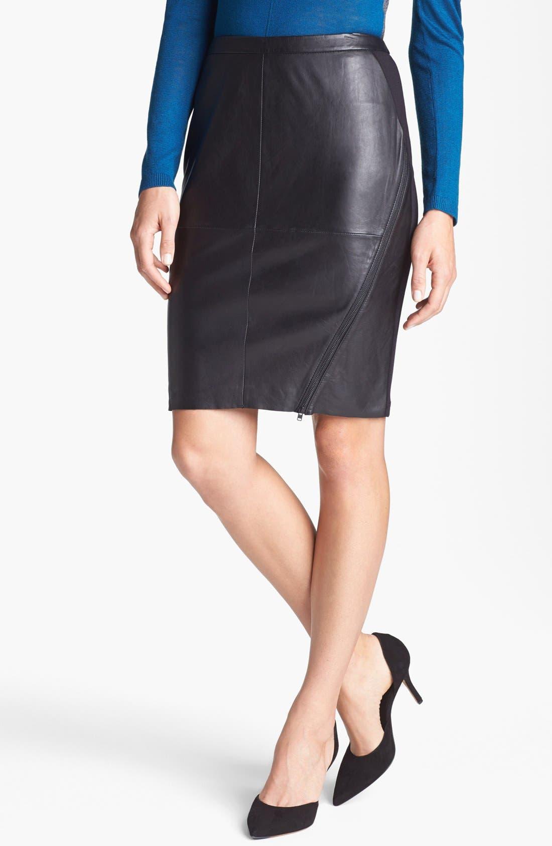 Main Image - Trouvé Leather Front Pencil Skirt