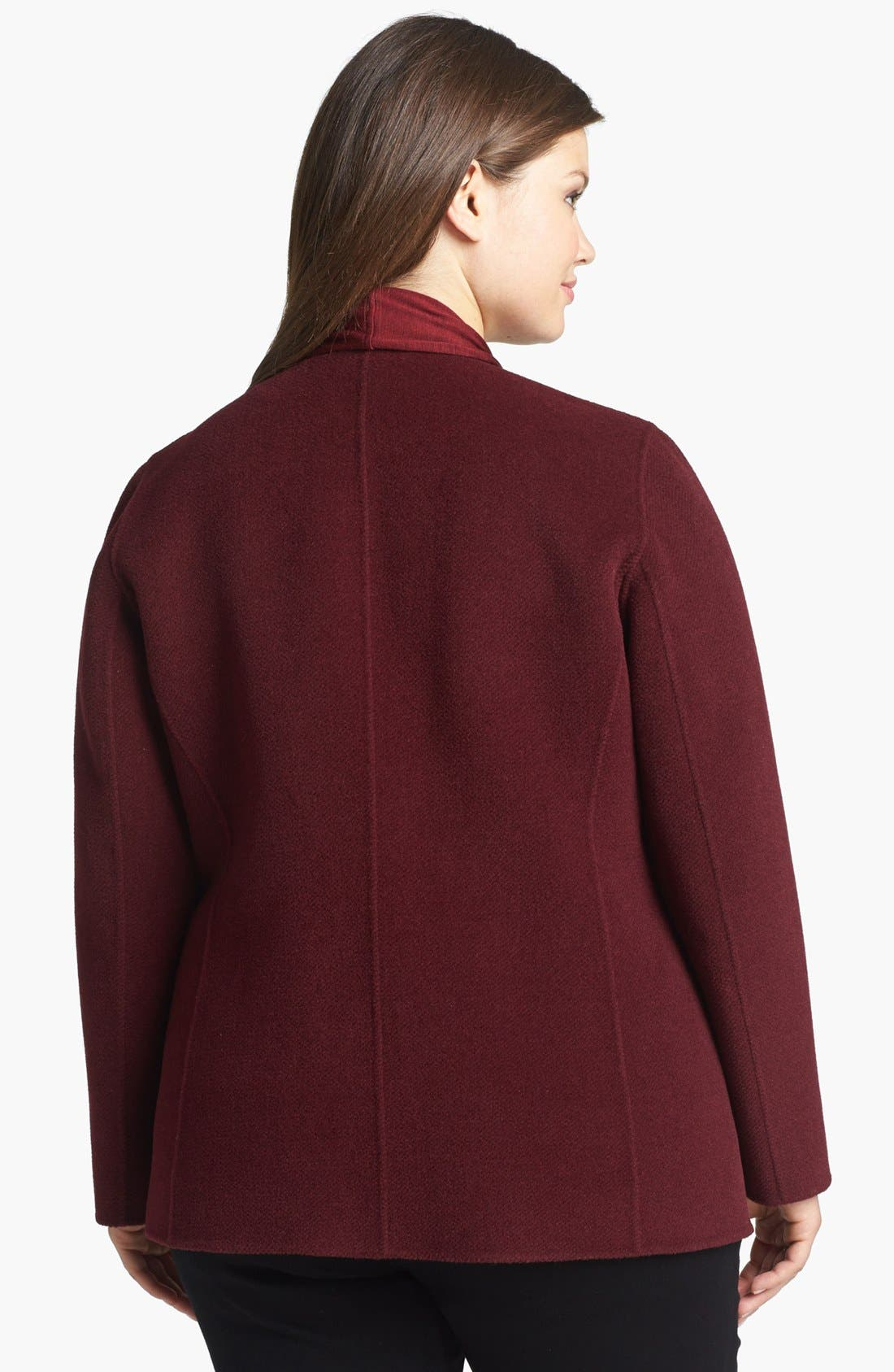 Alternate Image 2  - Lafayette 148 New York 'Alessa' Leather Trim Wool & Angora Jacket (Plus Size)