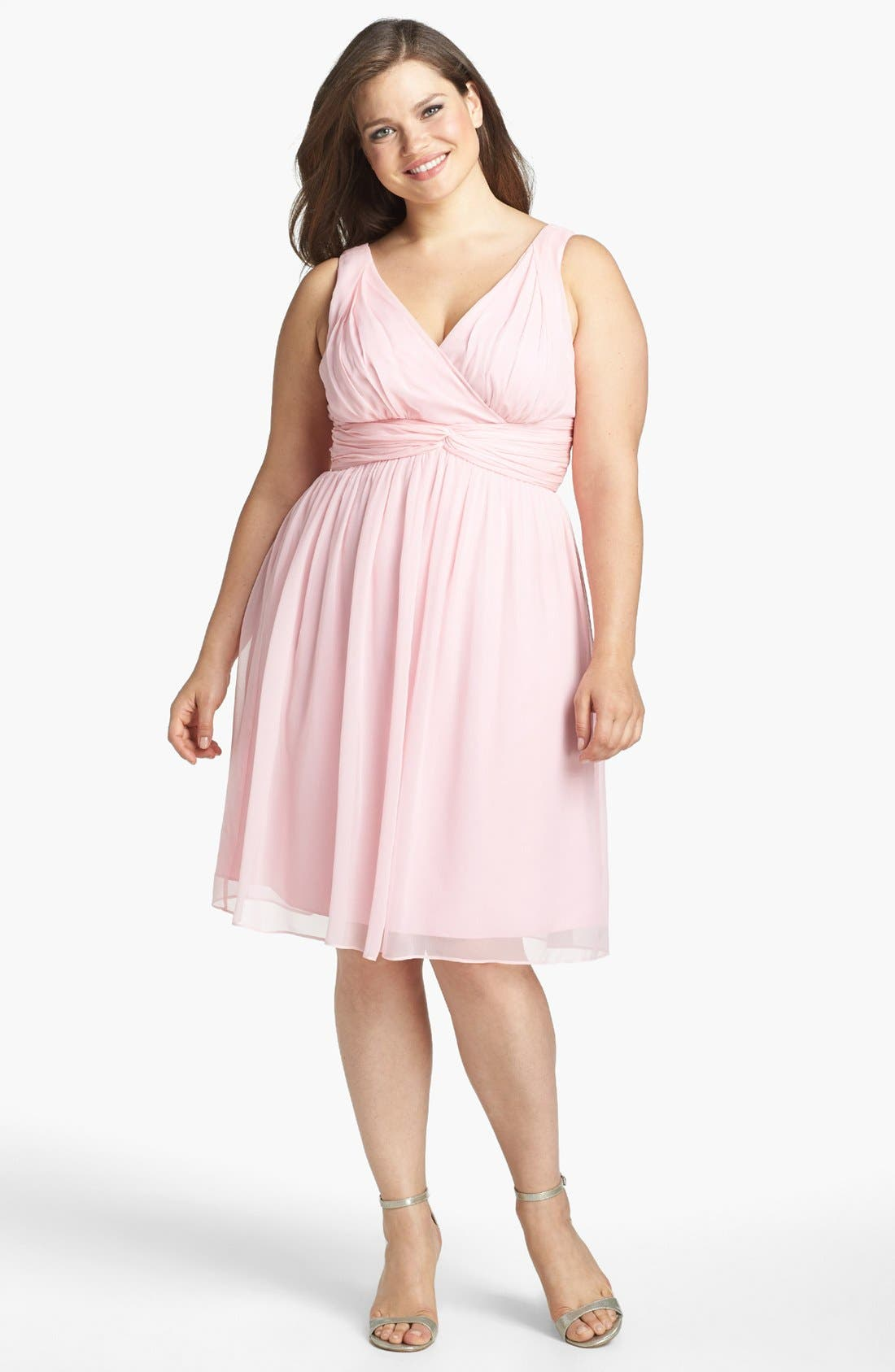 Alternate Image 1 Selected - Donna Morgan 'Jessie' Twist Waist Chiffon Fit & Flare Dress (Plus Size)