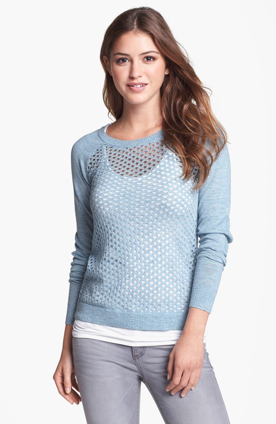 Alternate Image 1 Selected - kensie Open Knit Raglan Sweater