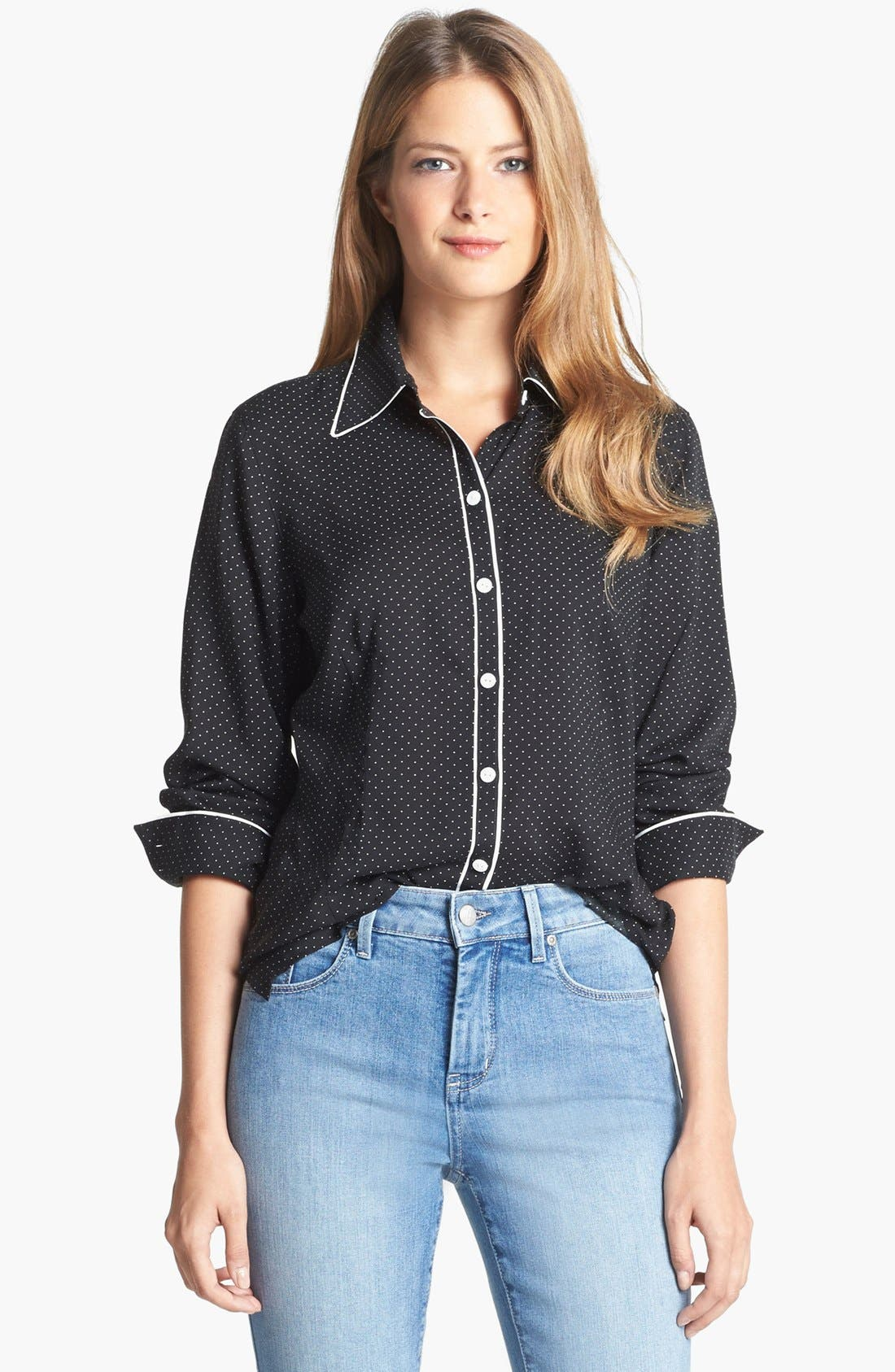 Alternate Image 1 Selected - Foxcroft Pin Dot Shaped Shirt