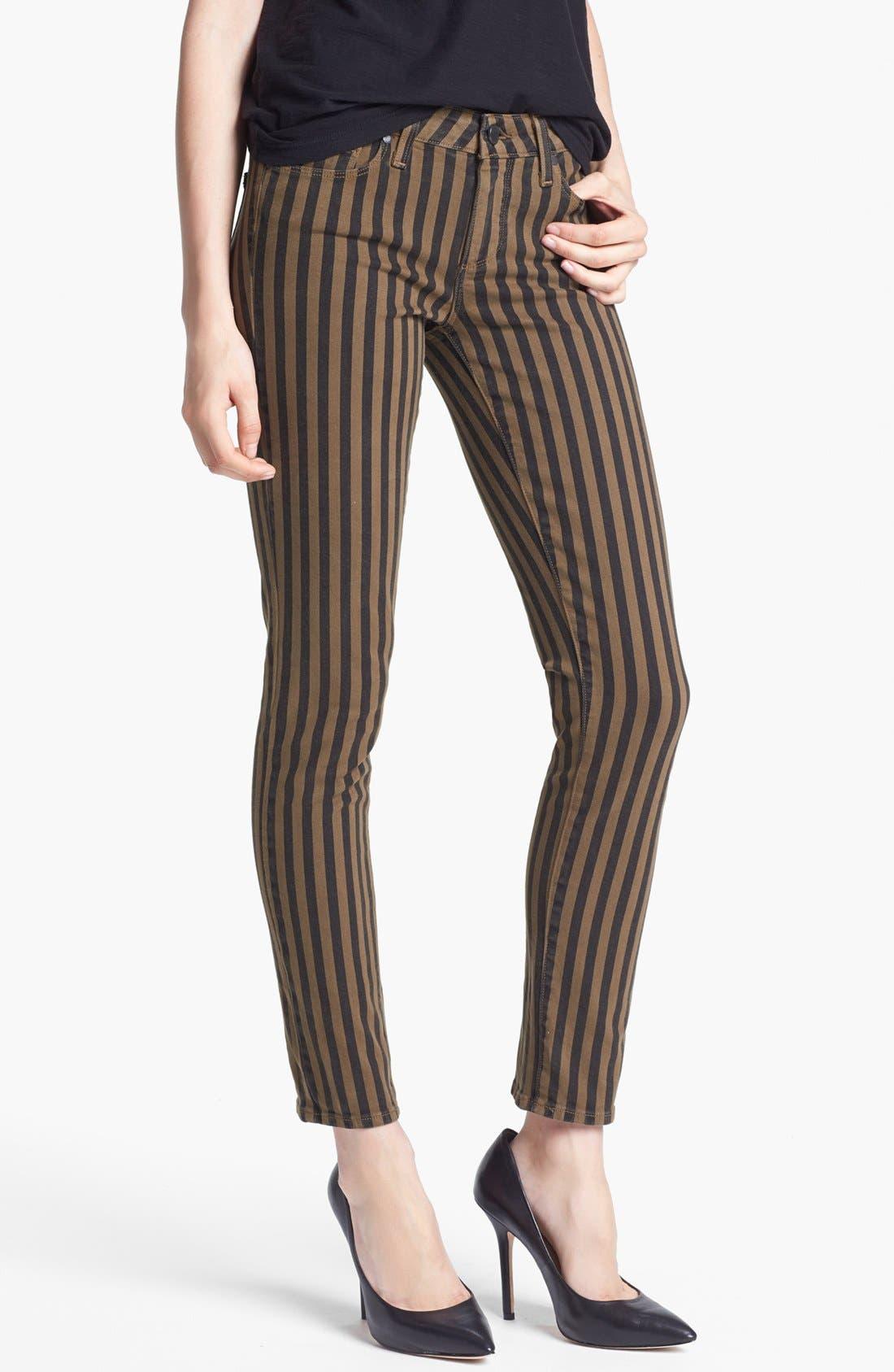 Alternate Image 1  - Paige Denim 'Skyline' Ankle Jeans (Olive Branch London Stripe)