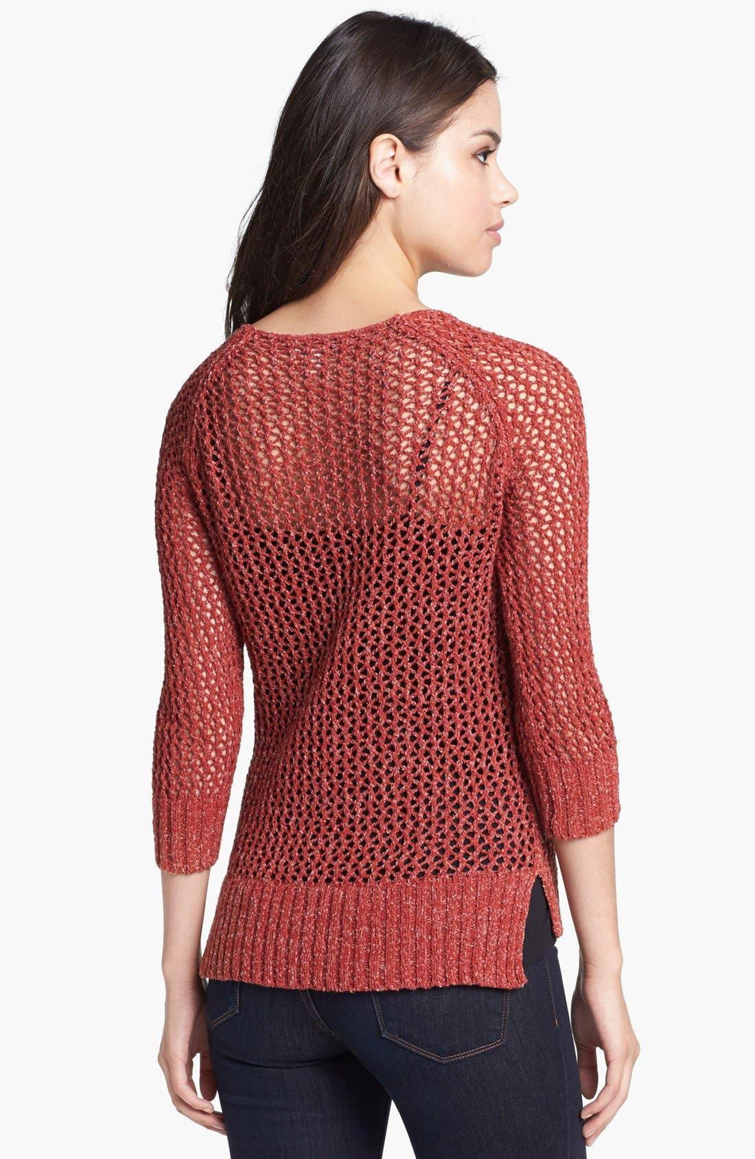 Alternate Image 2  - Lucky Brand 'Cerise' Open Stitch Sweater
