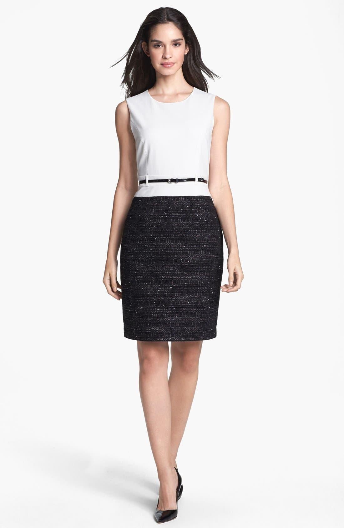 Alternate Image 1 Selected - Calvin Klein Mixed Media Sheath Dress