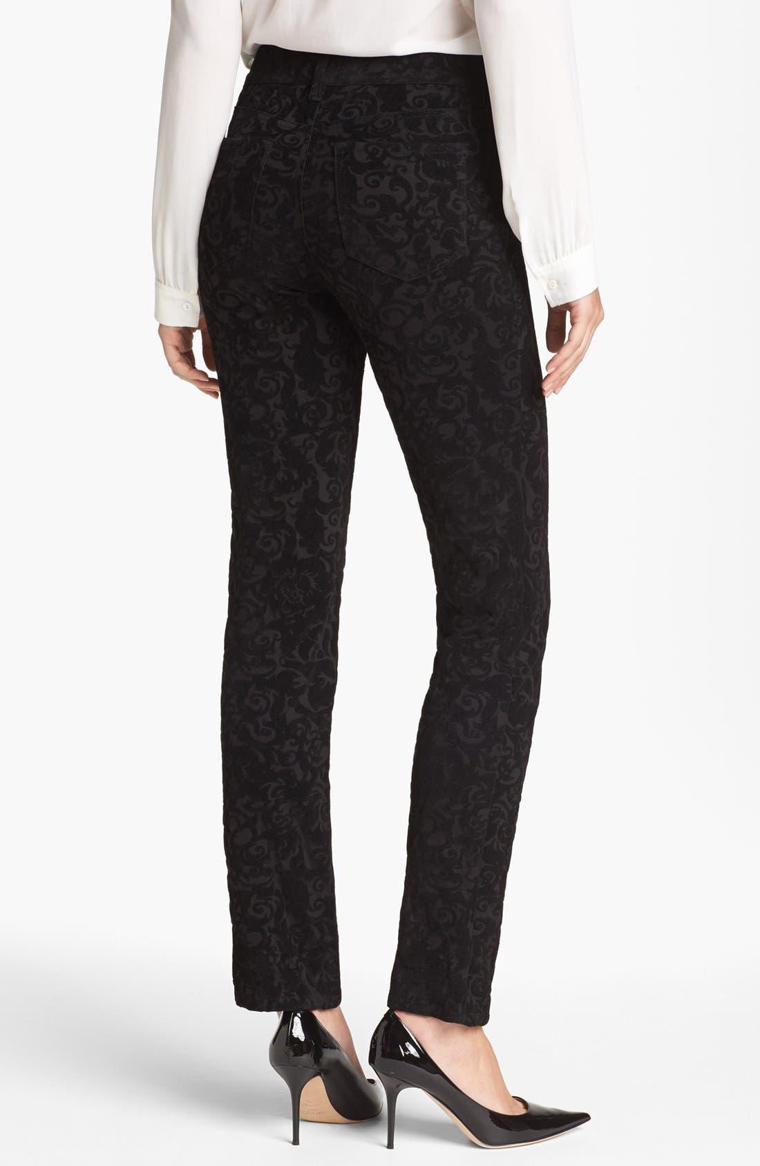 Alternate Image 2  - NYDJ 'Sheri' Flocked Stretch Skinny Jeans