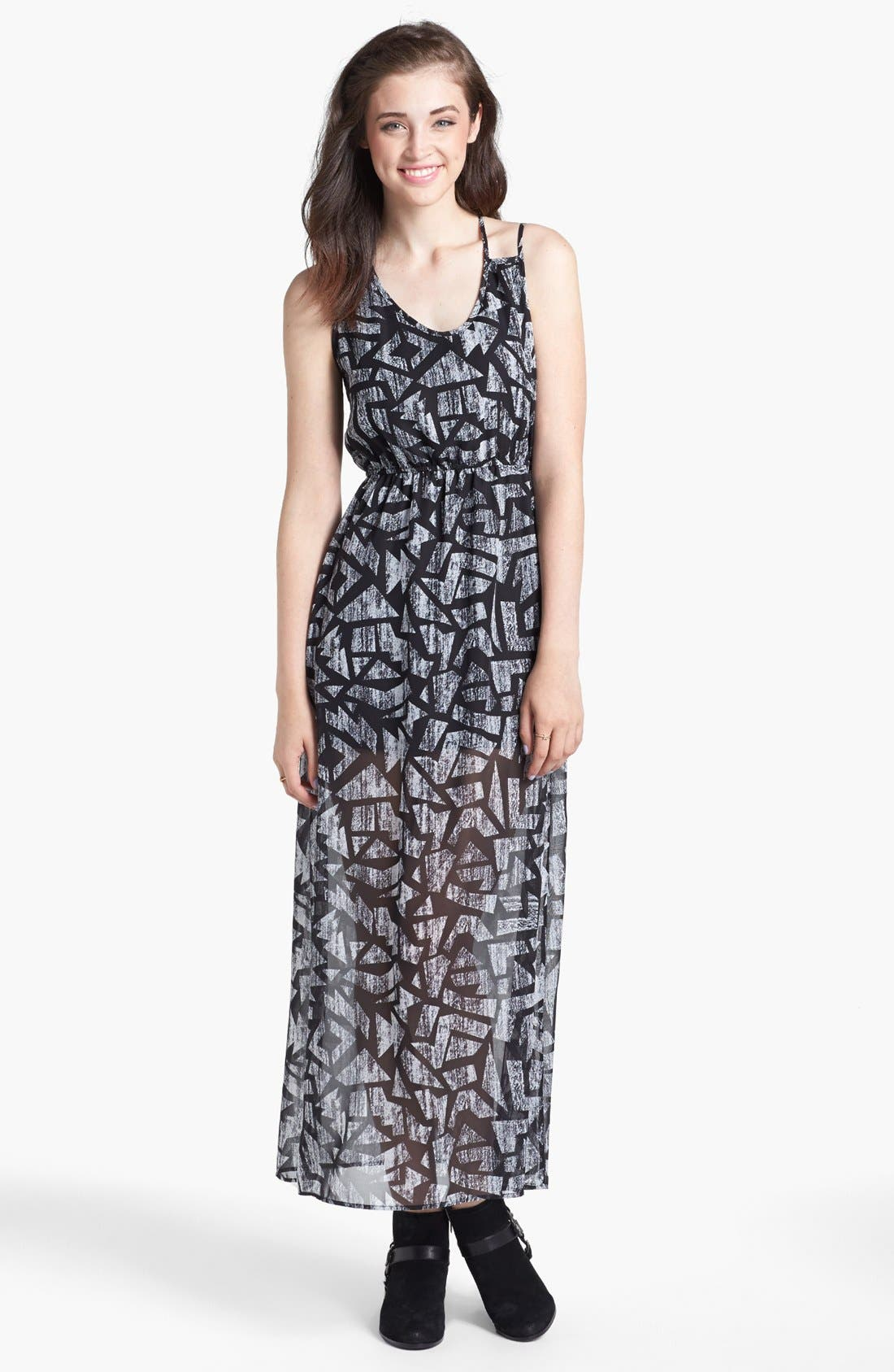 Alternate Image 1 Selected - dee elle Print Strappy Maxi Dress (Juniors)