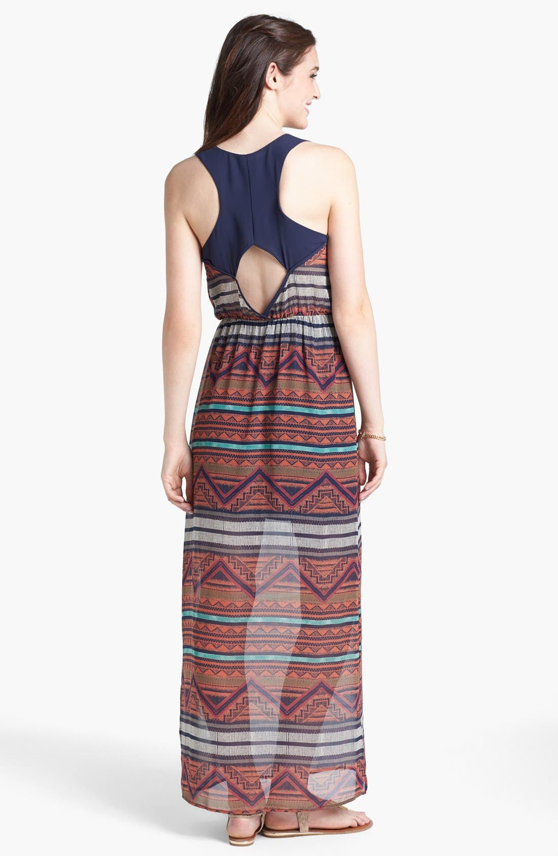 Alternate Image 2  - dee elle Cutout Print Racerback Maxi Dress (Juniors)