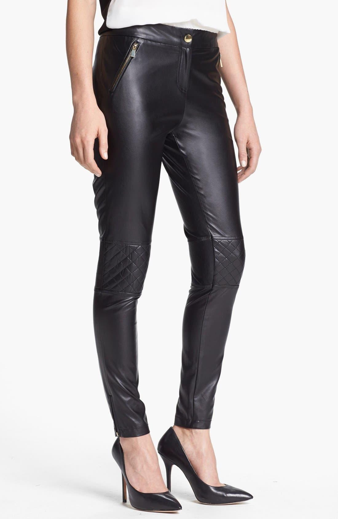 Alternate Image 1 Selected - Vince Camuto Quilted Detail Faux Leather Pants (Regular & Petite)