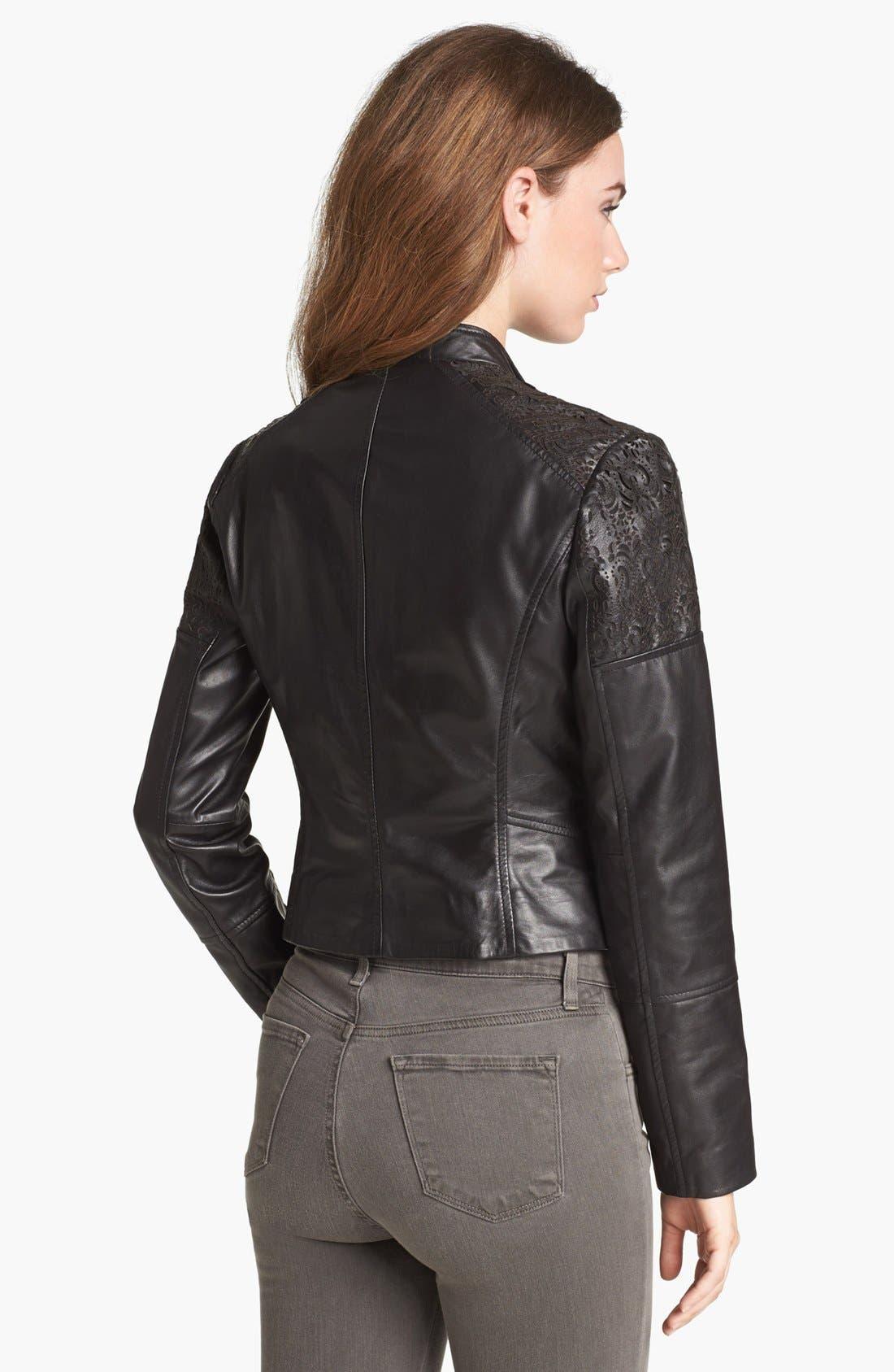 Alternate Image 2  - Bernardo Cutout Trim Leather Moto Jacket (Nordstrom Exclusive)