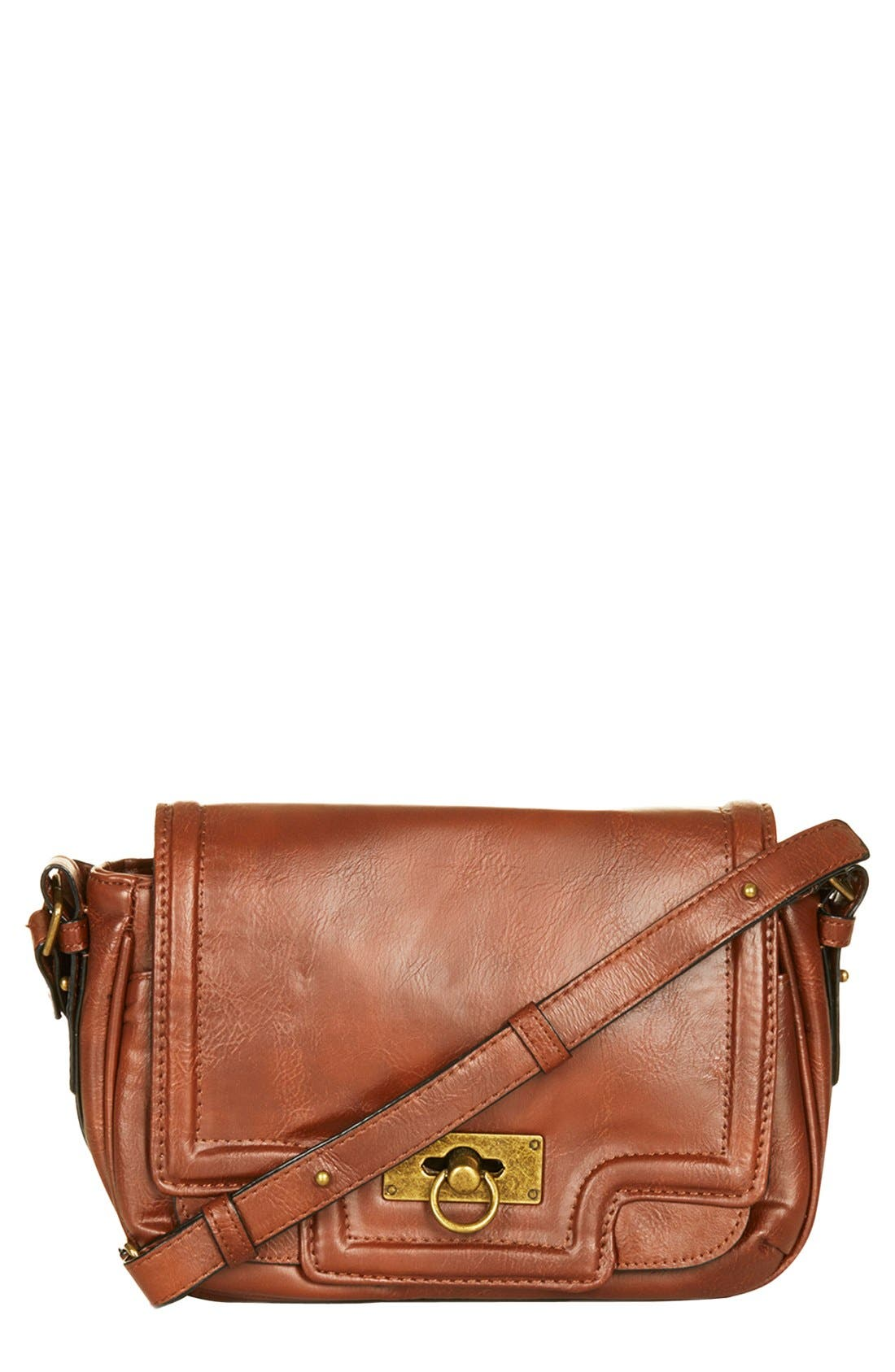 Main Image - Topshop Faux Leather Crossbody Bag