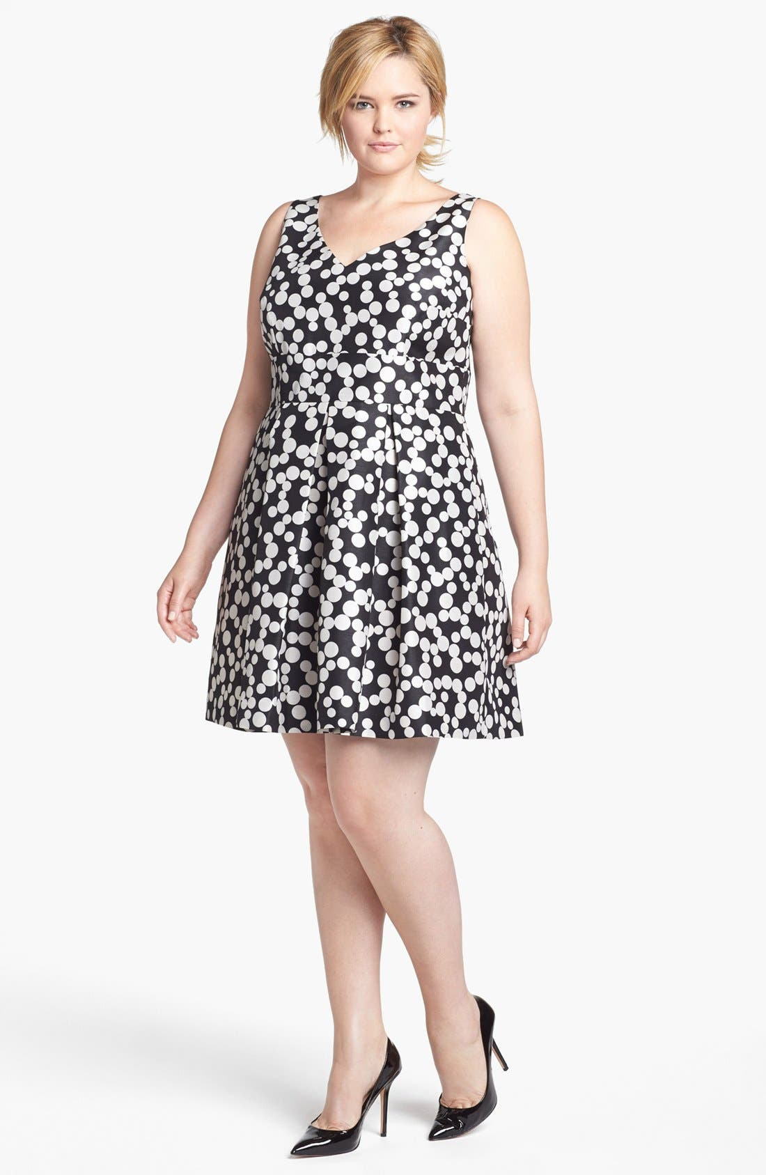 Alternate Image 1 Selected - Taylor Dresses Polka Dot Fit & Flare Dress (Plus Size)