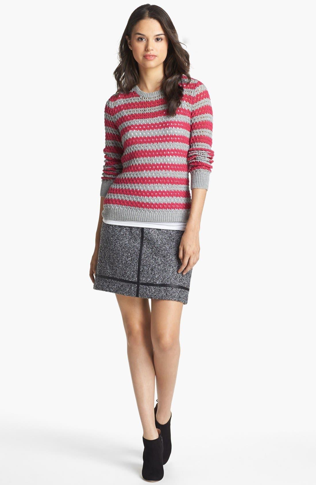 Alternate Image 2  - kensie Faux Leather Trim Tweed Skirt