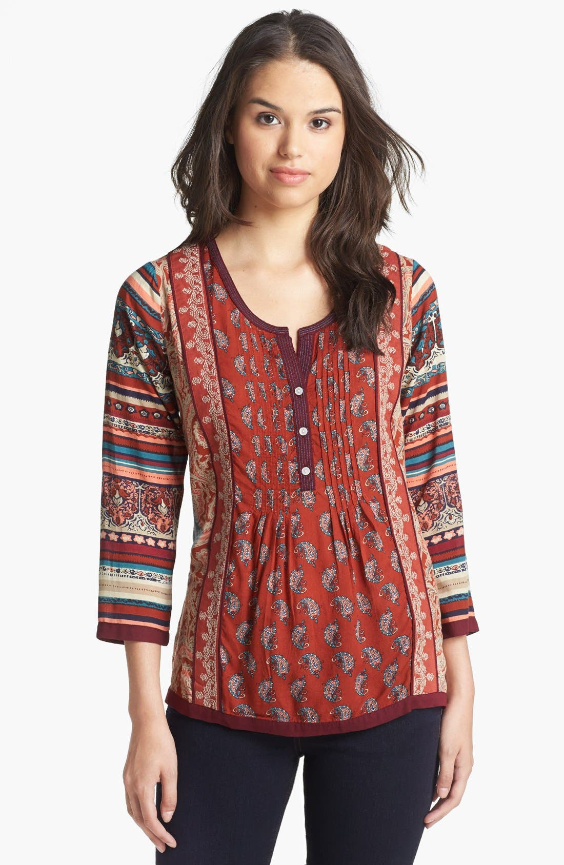 Alternate Image 1 Selected - Lucky Brand 'Annabeth' Mix Print Tunic