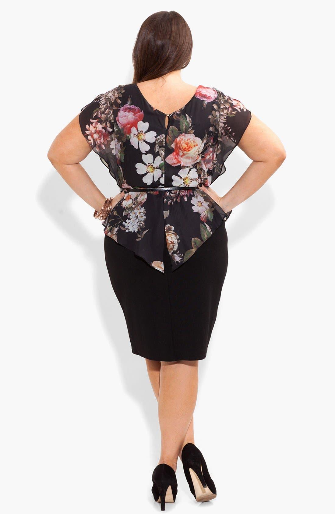 Alternate Image 2  - City Chic Print Chiffon & Ponte Knit Dress (Plus Size)