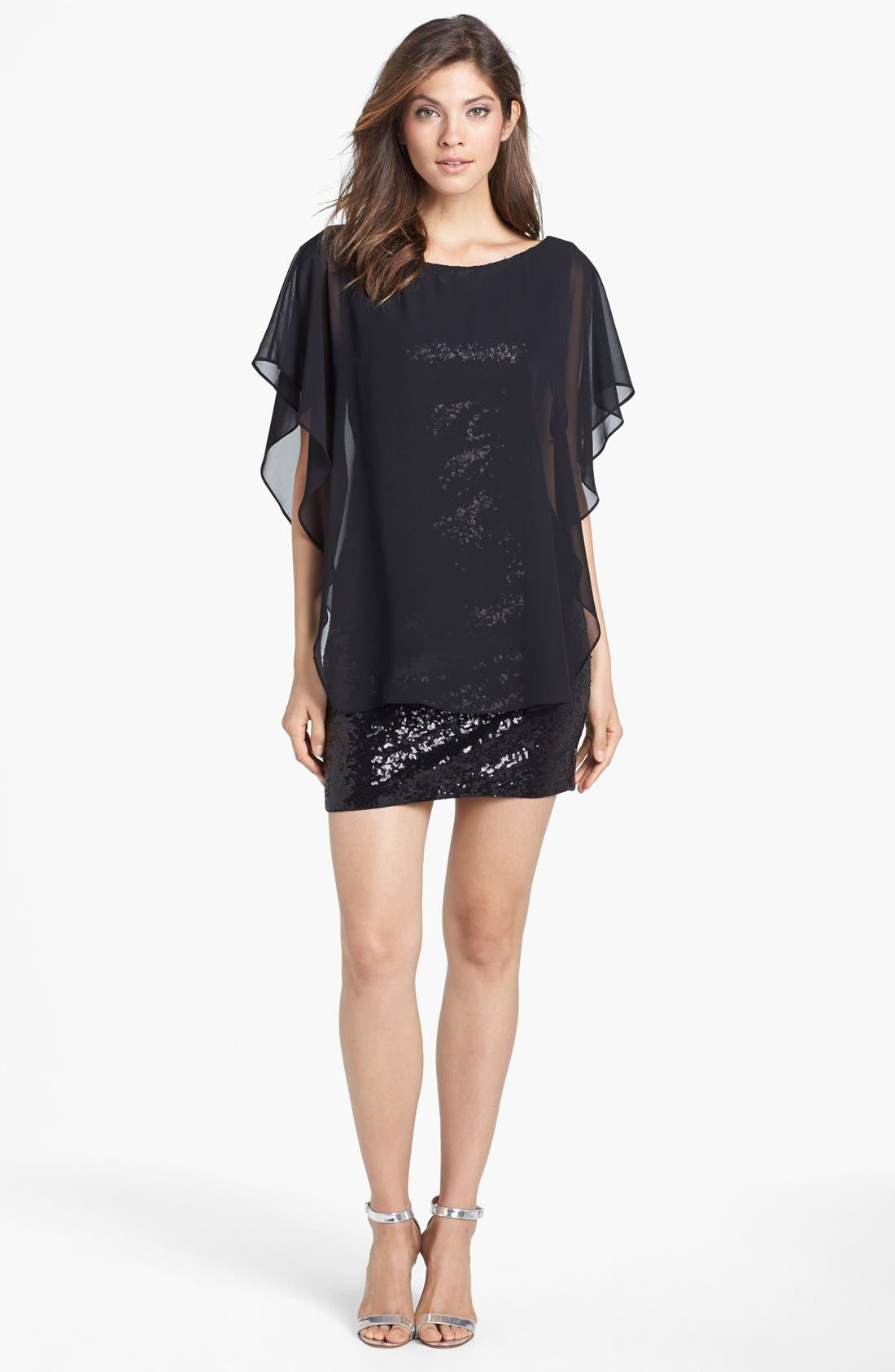 Main Image - Laundry by Shelli Segal Chiffon Overlay Sequin Dress