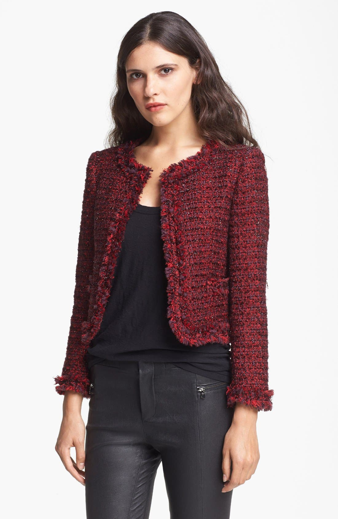 Main Image - Alice + Olivia 'Kidman' Tweed Open Front Jacket