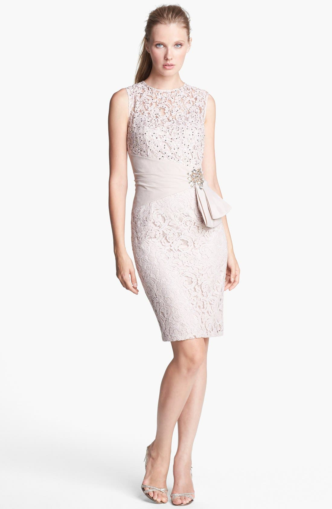 Alternate Image 1 Selected - Eliza J Embellished Lace Sheath Dress