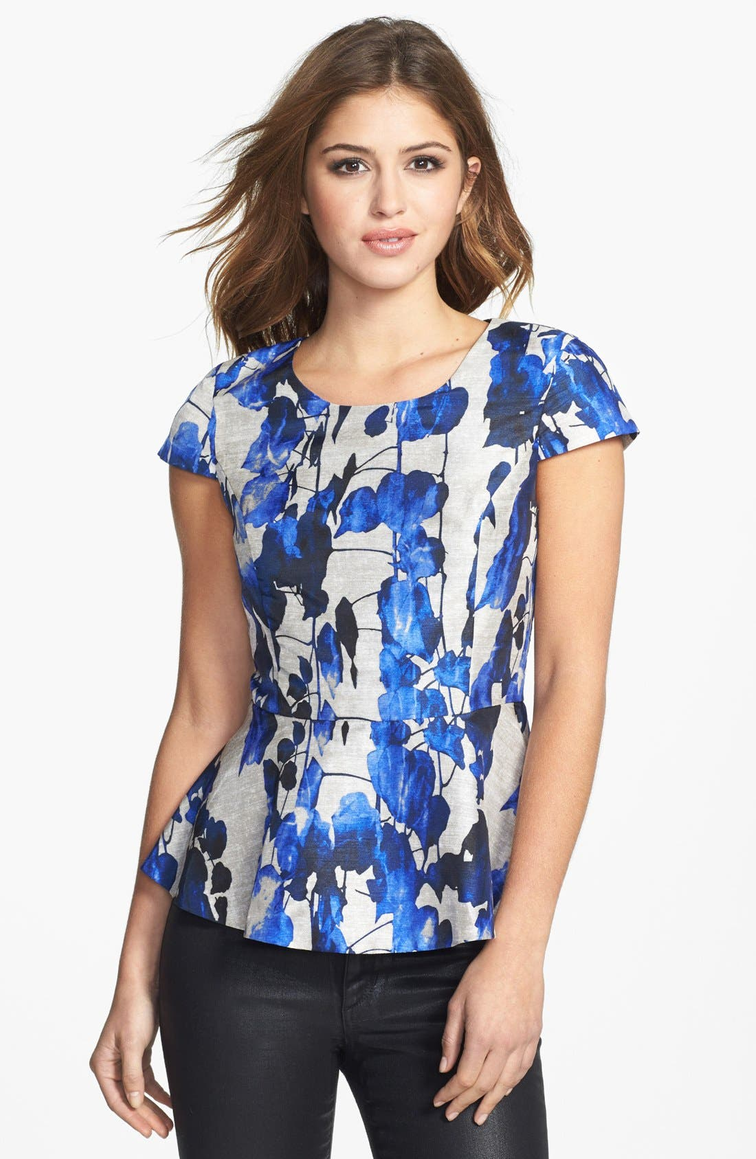 Alternate Image 1 Selected - kensie Print Peplum Top