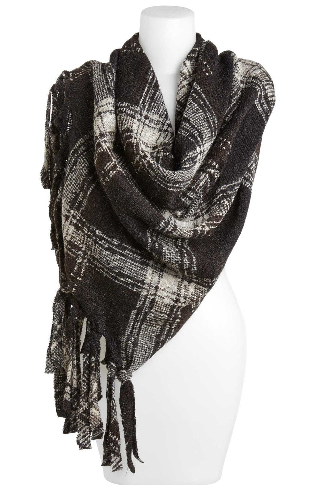 Alternate Image 1 Selected - Nordstrom Plaid Fringe Wrap