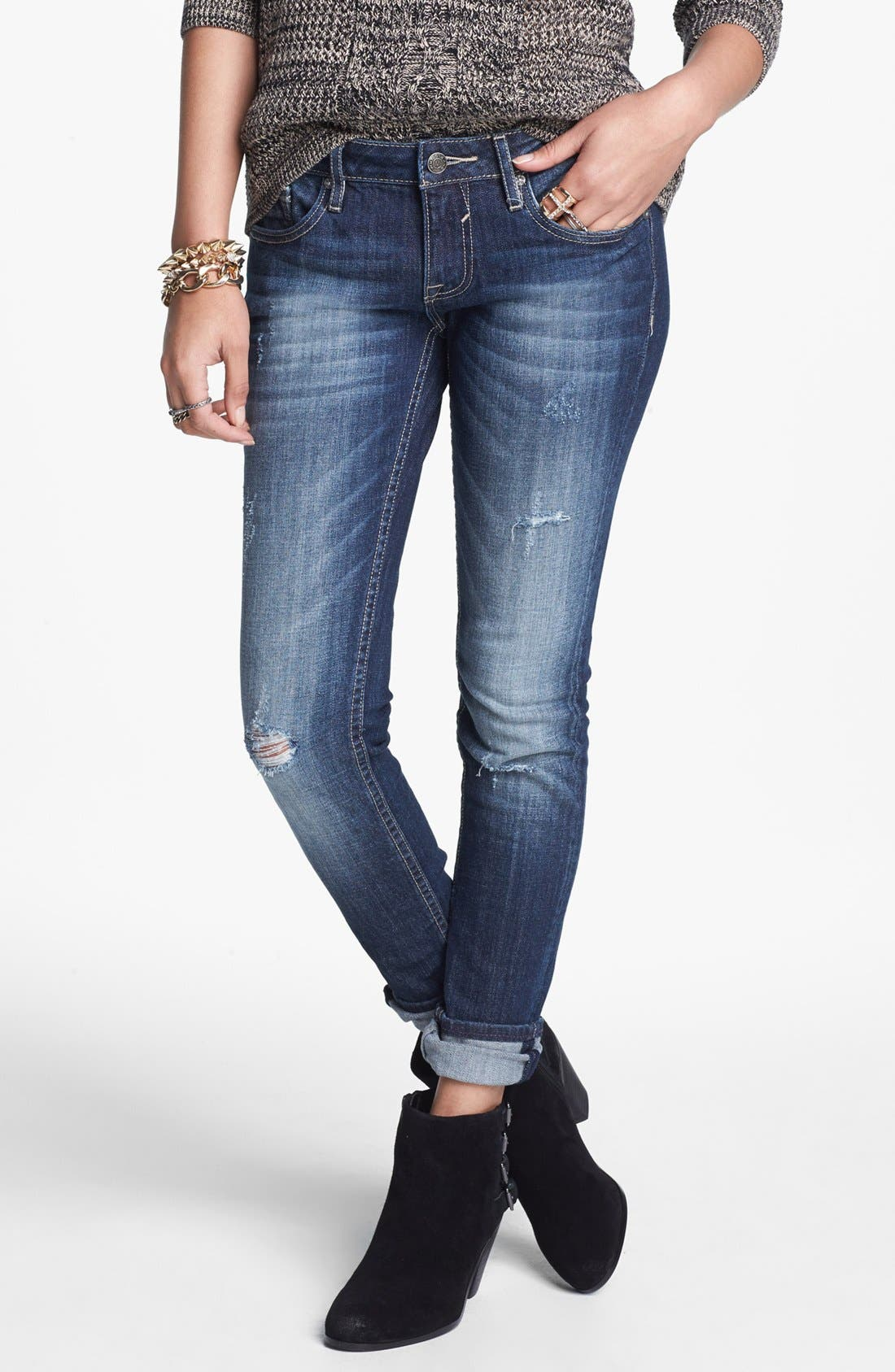 Alternate Image 1 Selected - Vigoss Destroyed Skinny Jeans (Dark) (Juniors)