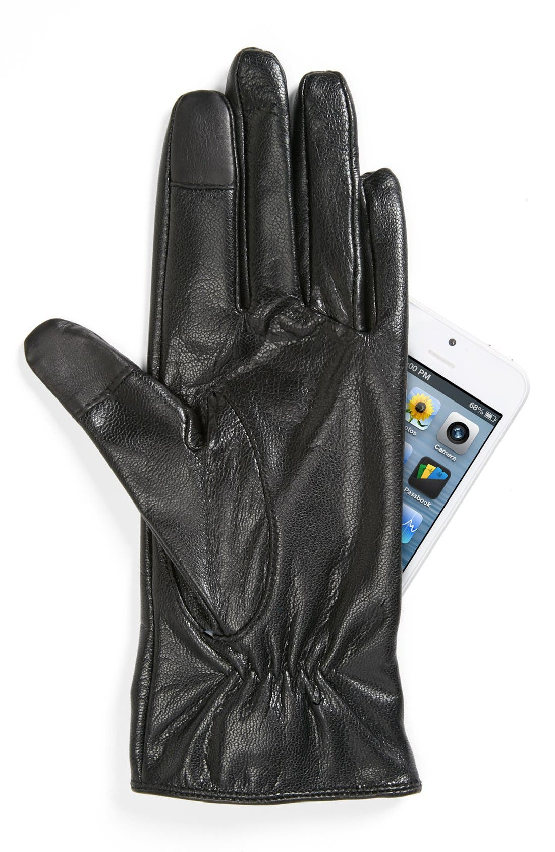 Alternate Image 2  - kate spade new york 'pyramid bow' leather tech gloves