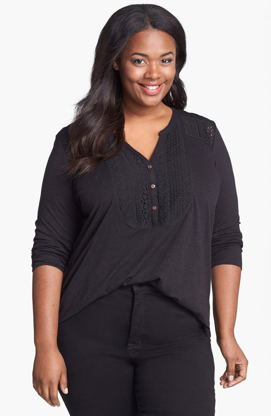 Alternate Image 1 Selected - Lucky Brand Lace Tuxedo Bib Top (Plus Size)