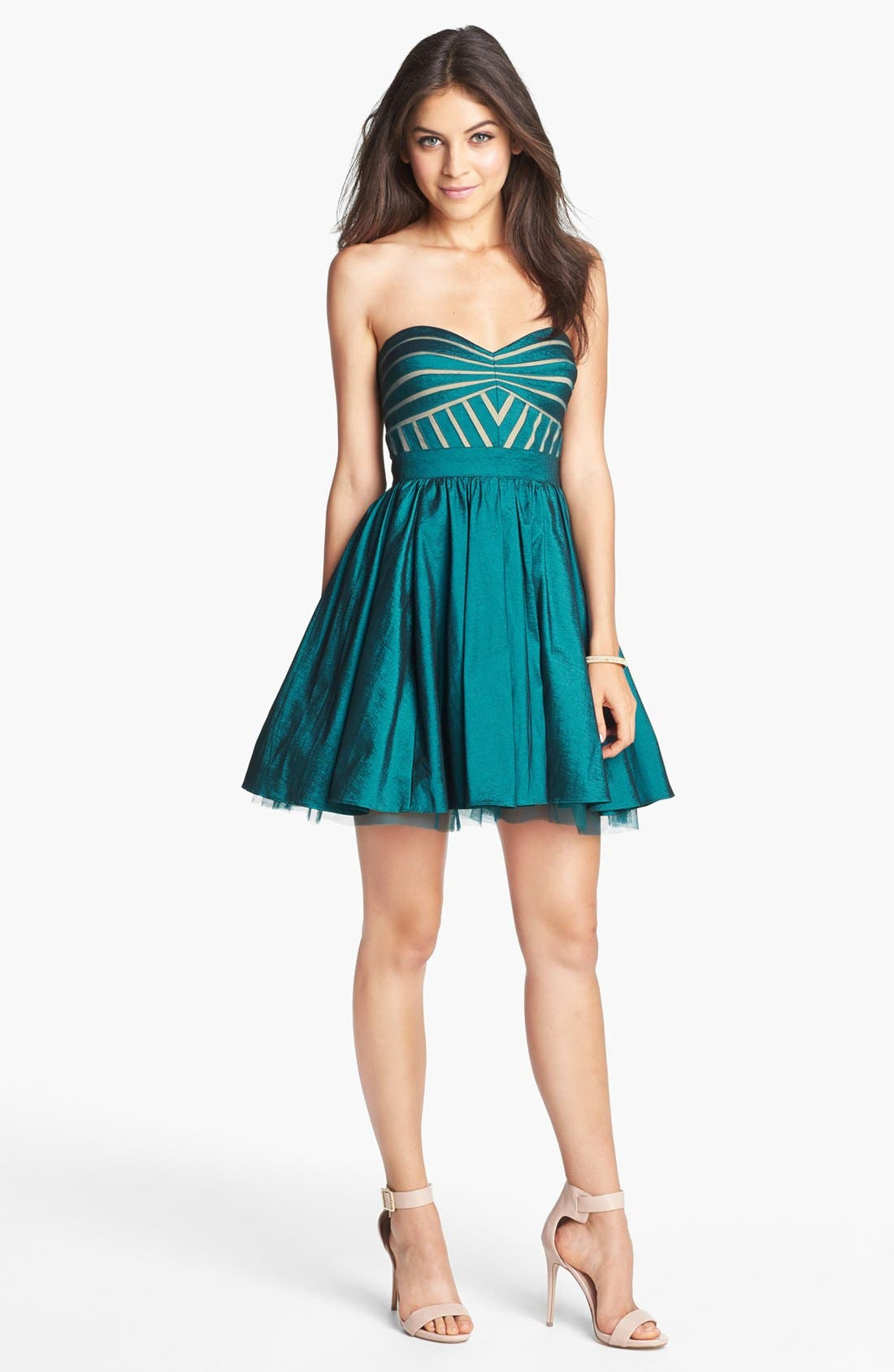 Alternate Image 1 Selected - Aidan Mattox Strapless Taffeta Fit & Flare Dress (Online Only)