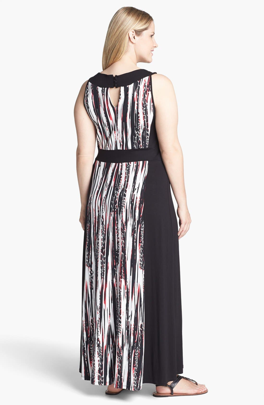 Alternate Image 2  - Evans Graphic Print Jersey Maxi Dress (Plus Size)