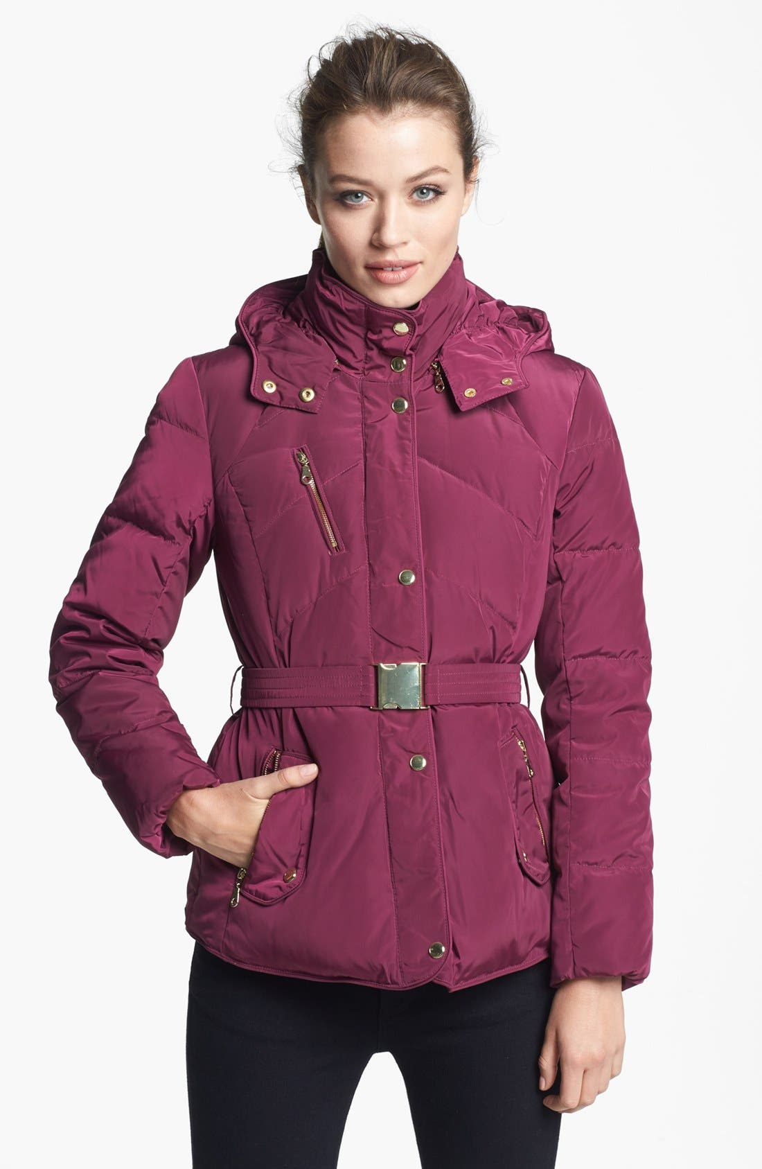 Alternate Image 1 Selected - Cole Haan Belted Down & Feather Jacket