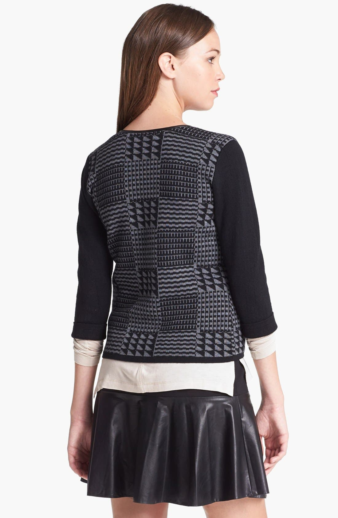 Alternate Image 3  - Halogen® Faux Leather Trim Sweater Jacket  (Regular & Petite)