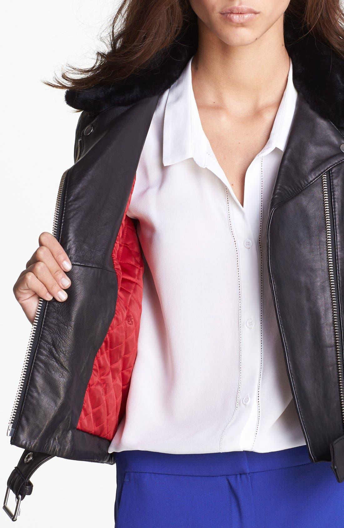 Alternate Image 4  - The Kooples Leather Biker Jacket with Genuine Fur Collar