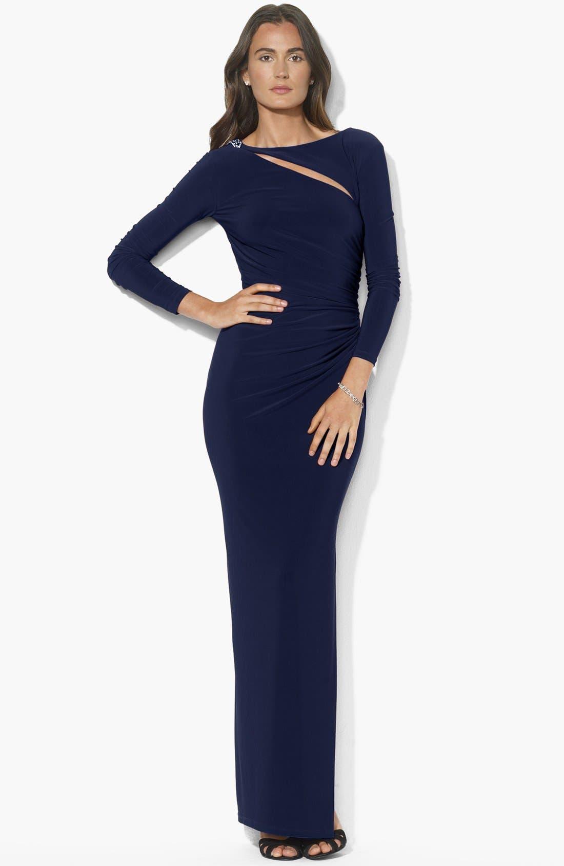 Alternate Image 1 Selected - Lauren Ralph Lauren Cutout Jersey Gown