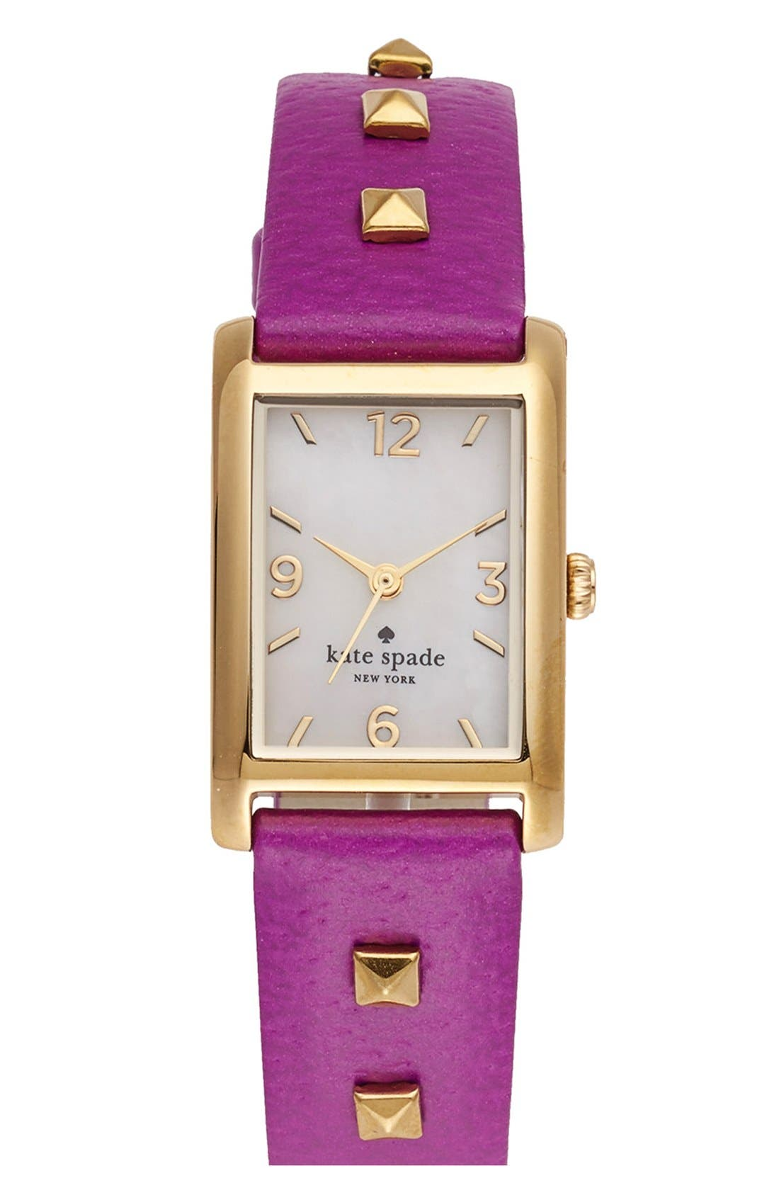 Alternate Image 1 Selected - kate spade new york 'cooper' studded leather strap watch, 21mm x 32mm
