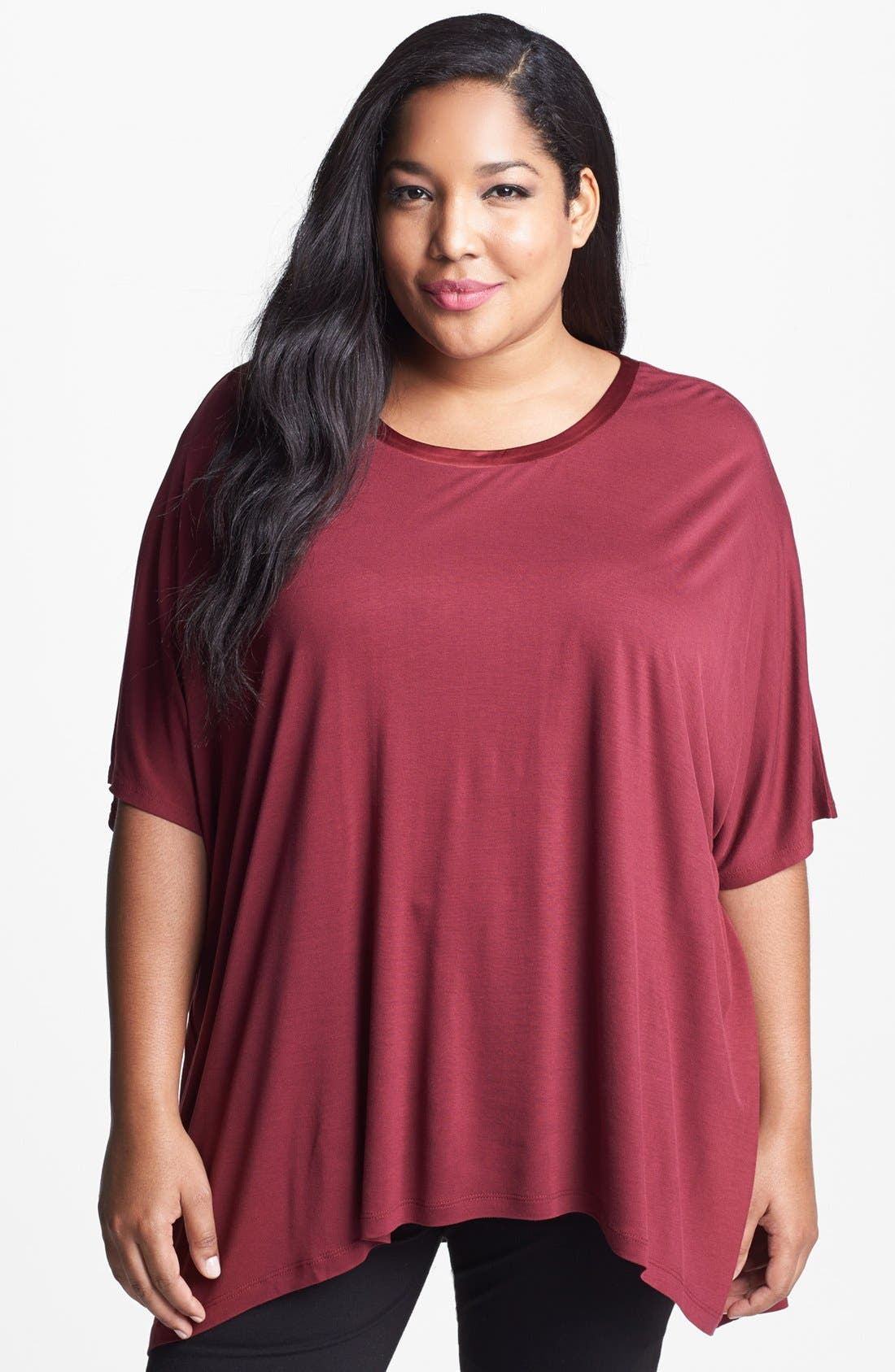 Alternate Image 1 Selected - Kische Satin Trim Sharkbite Hem Top (Plus Size)