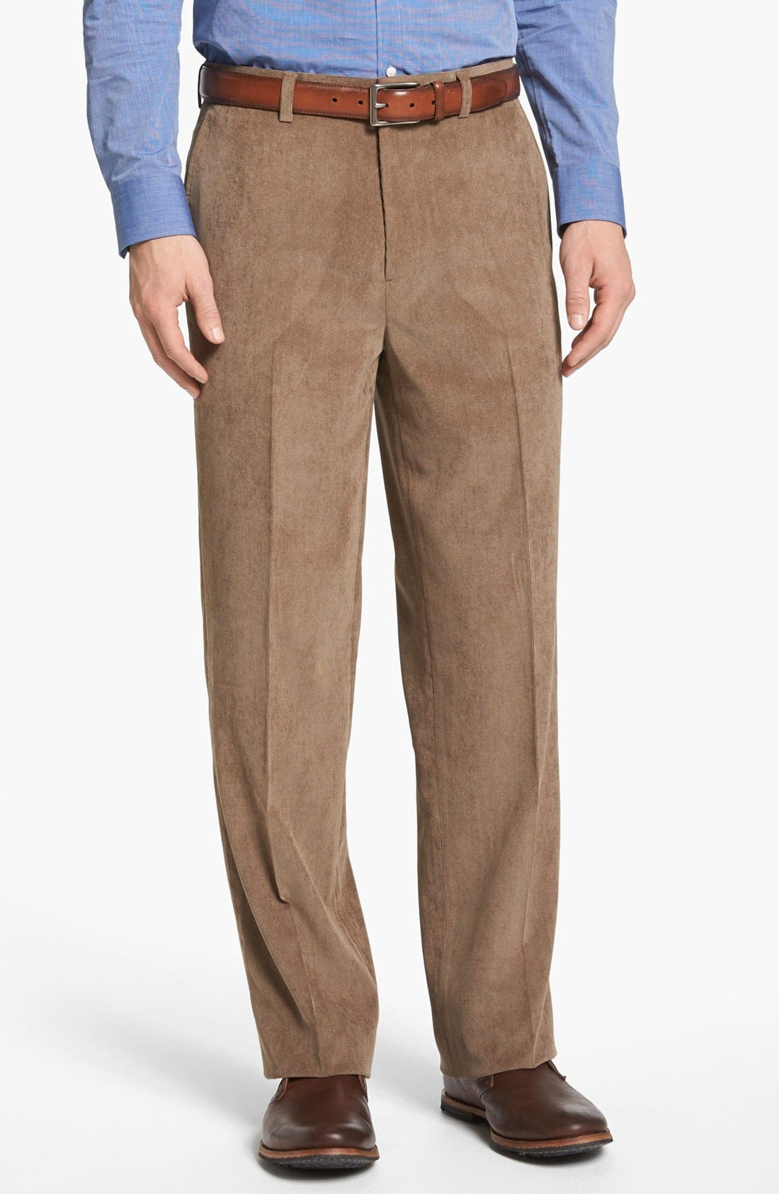 Main Image - Linea Naturale 'Micro-Aire' Flat Front Corduroy Trousers