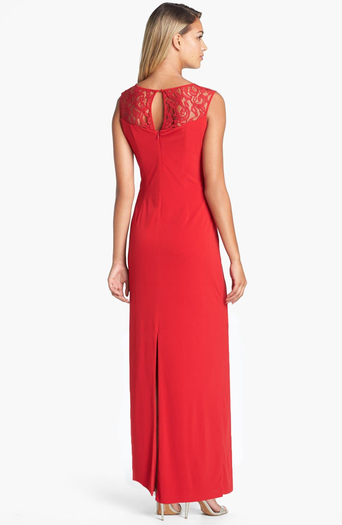 Alternate Image 2  - Ellen Tracy Lace Yoke Side Knot Jersey Gown