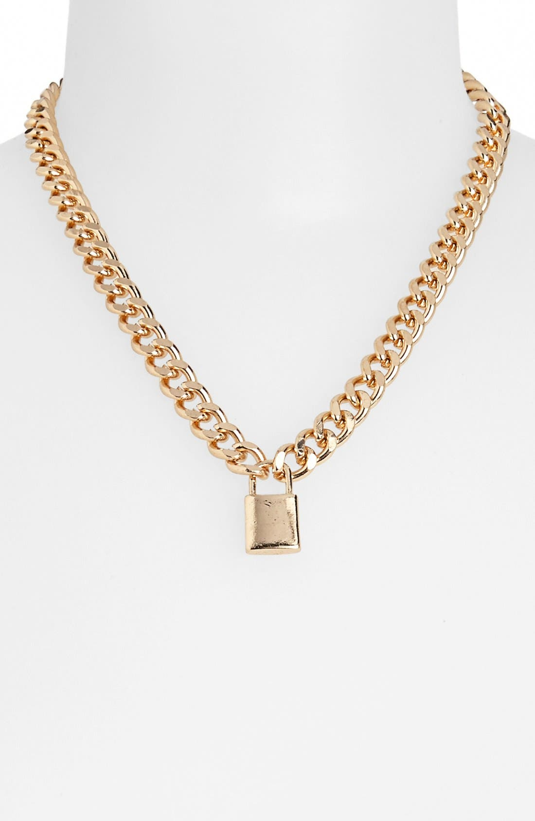 Alternate Image 1 Selected - Topshop Padlock Pendant Chain Necklace
