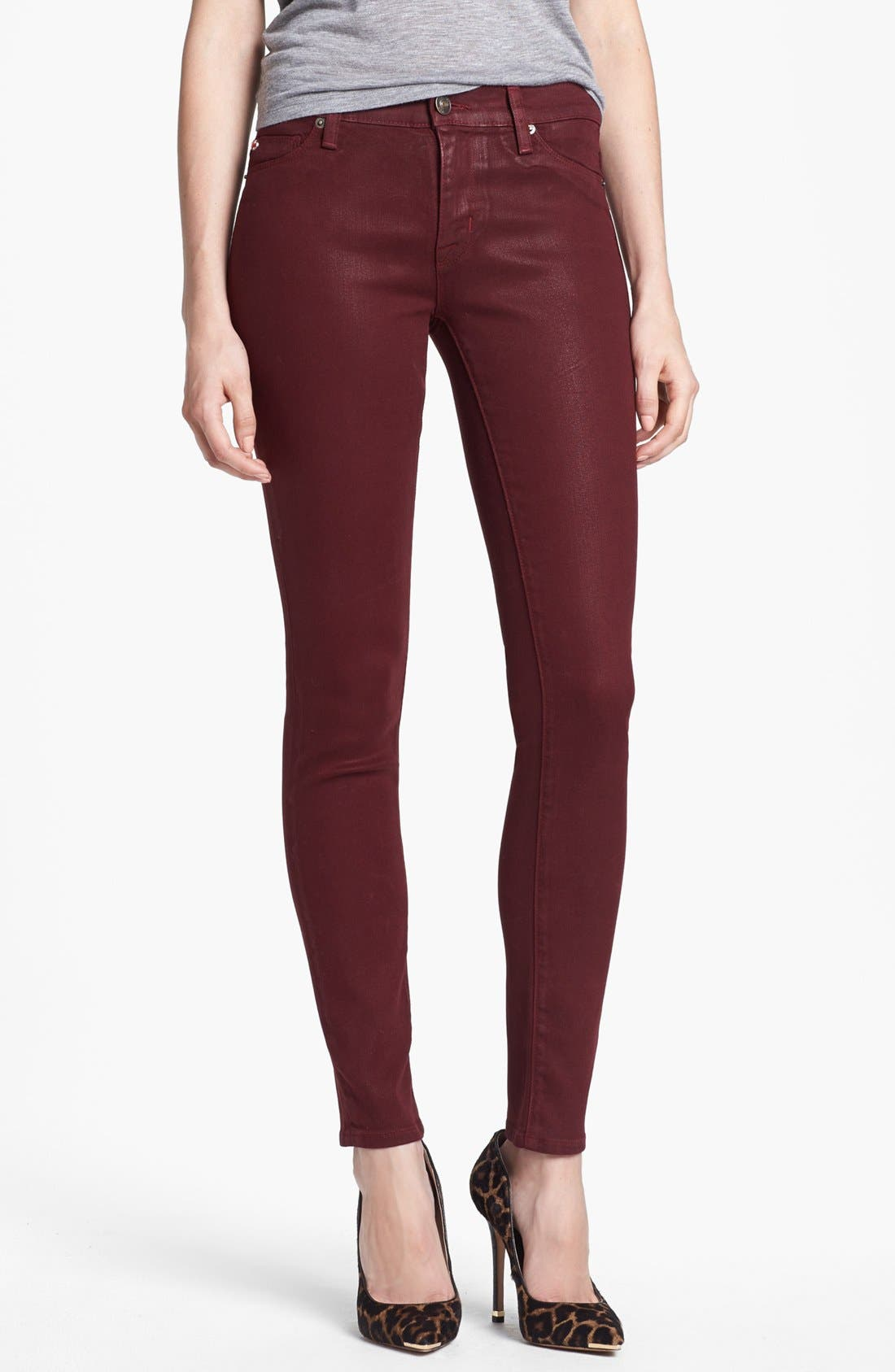 Main Image - Hudson Jeans 'Krista' Super Skinny Jeans (Crimson Wax)