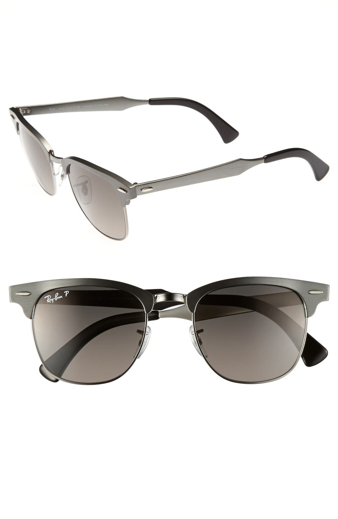 Alternate Image 1 Selected - Ray-Ban 'Clubmaster - Modern Temple' Polarized Sunglasses