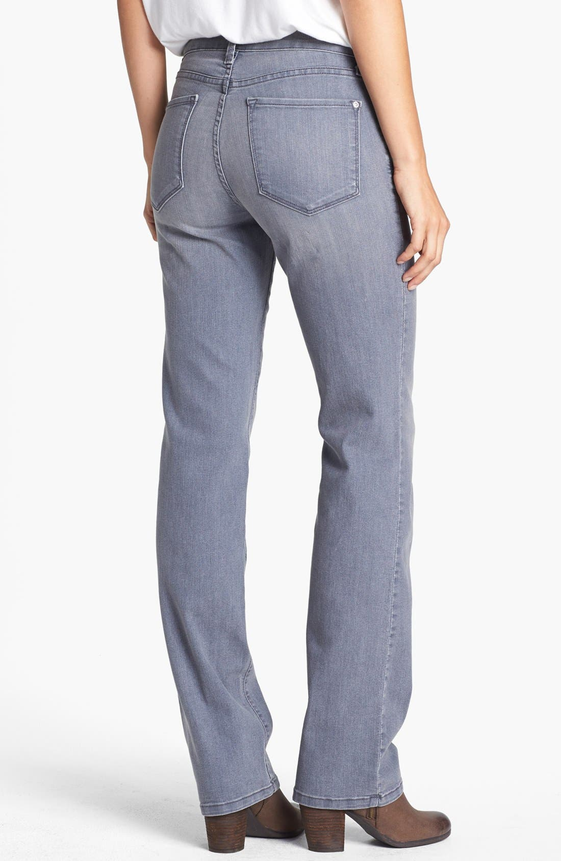 Alternate Image 2  - NYDJ 'Marilyn' Straight Leg Jeans (Grey) (Petite)