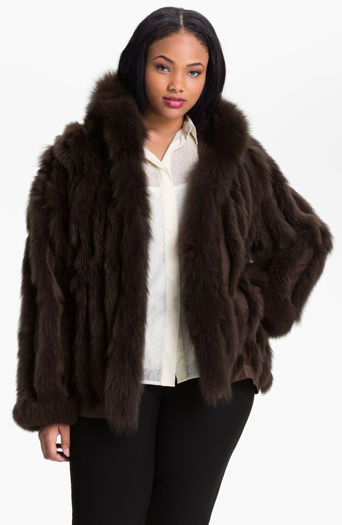 Main Image - George Simonton Couture Reversible Silk & Genuine Fox Fur Jacket (Plus Size)