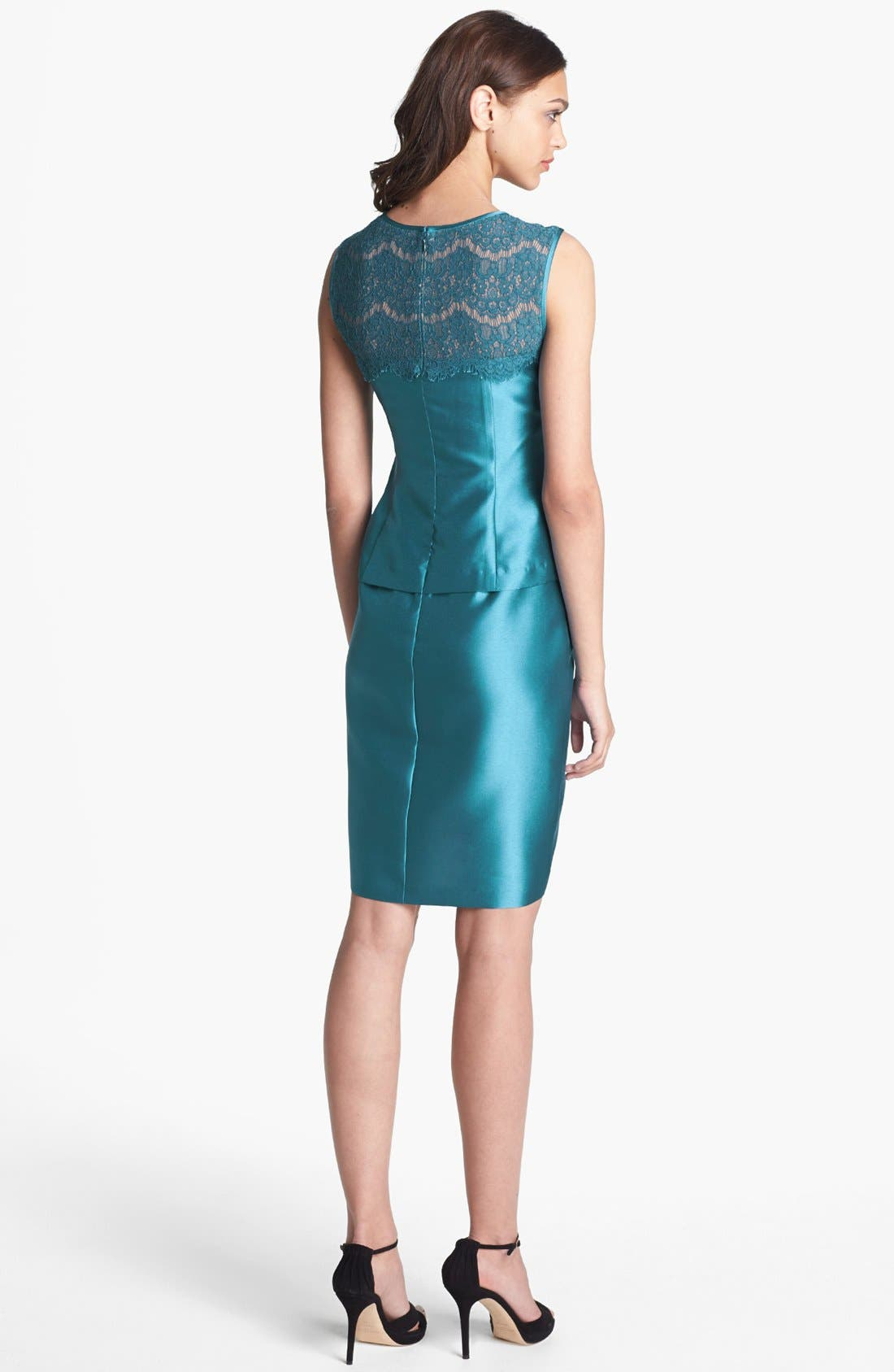 Alternate Image 2  - Alex Evenings Lace Yoke Satin Peplum Sheath Dress
