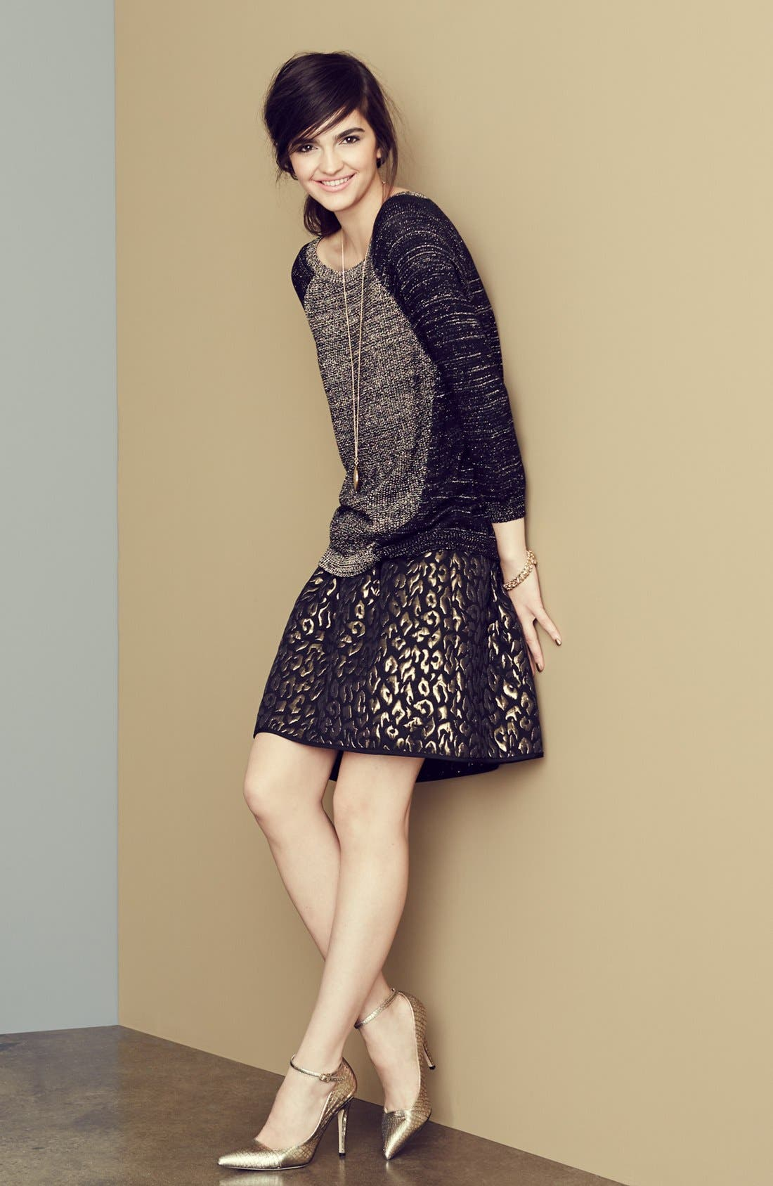 Main Image - Kenneth Cole New York Metallic Sweater & Print Skirt