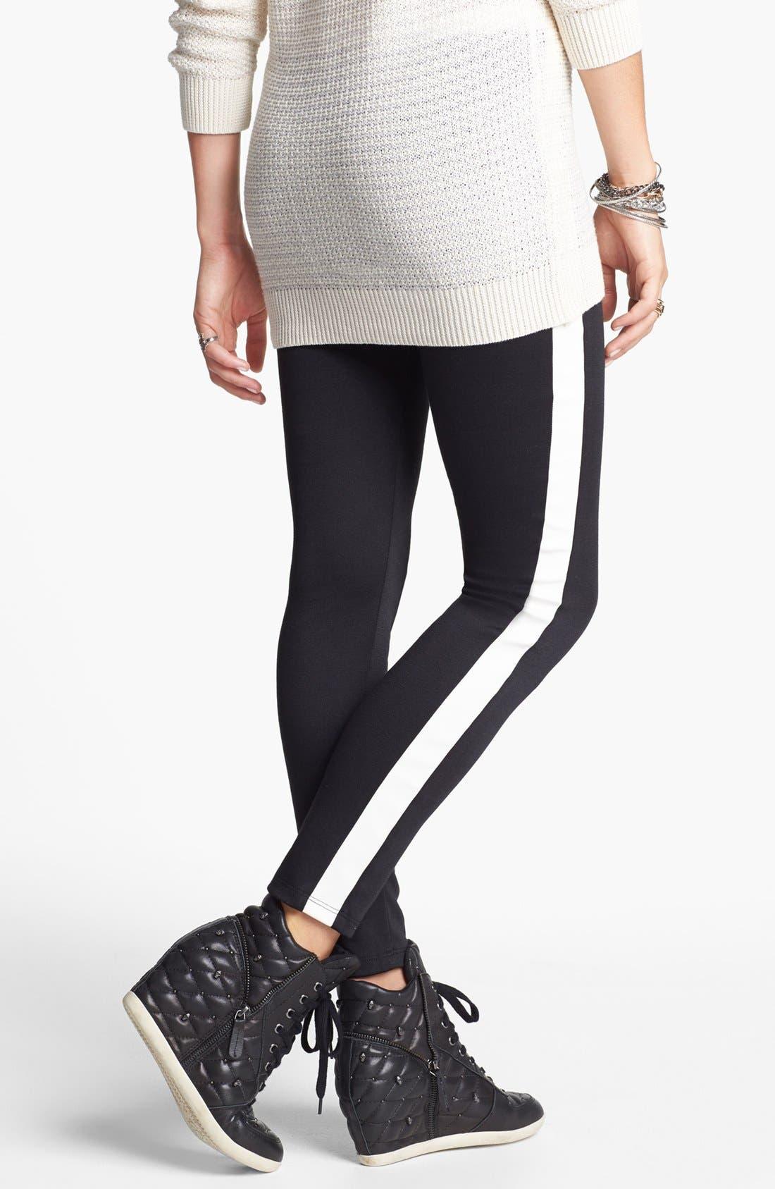 Alternate Image 1 Selected - Lily White Tuxedo Stripe Leggings (Juniors) (Online Only)