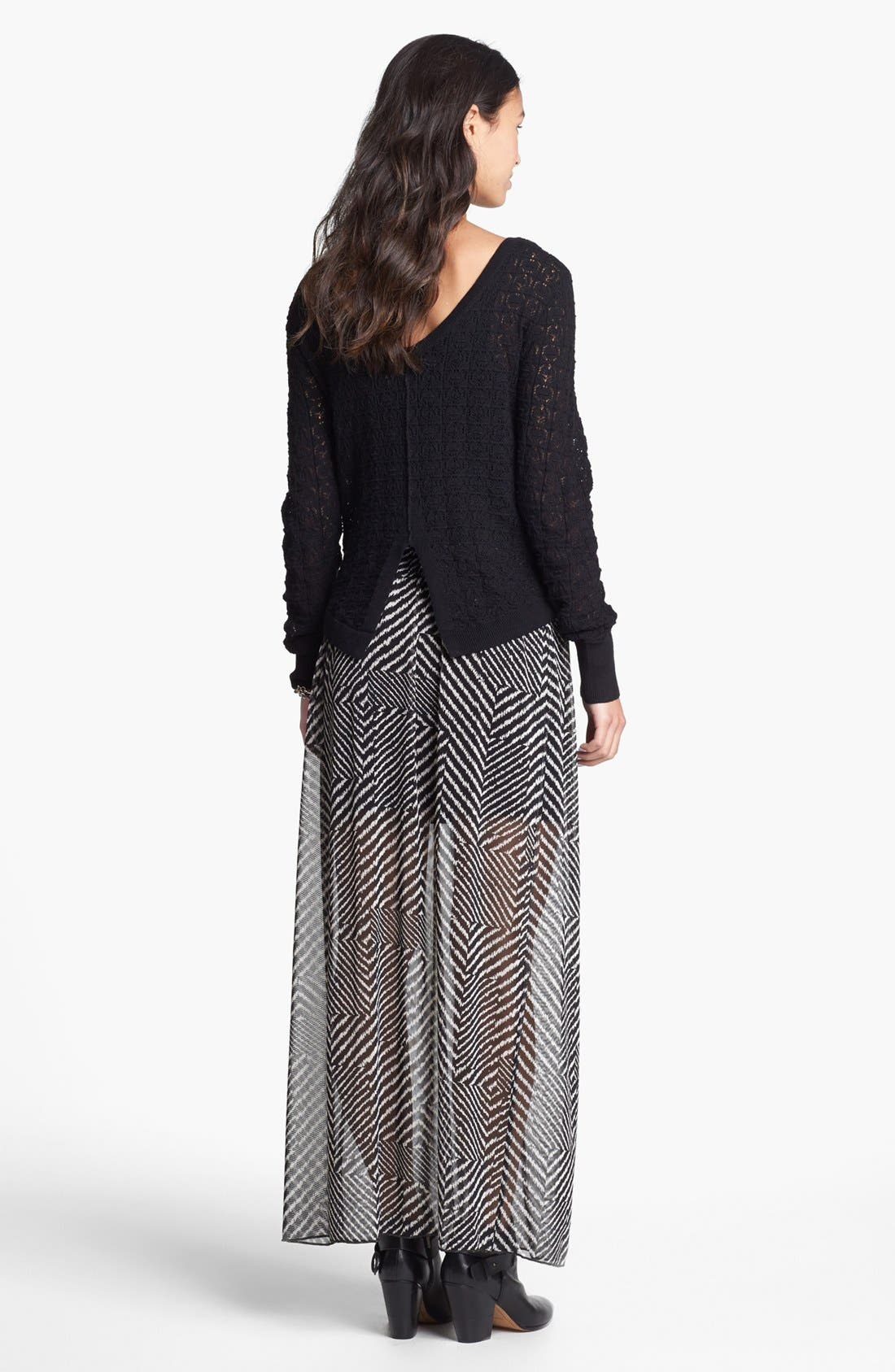 Alternate Image 2  - h.i.p. Print Chiffon Maxi Skirt (Juniors)