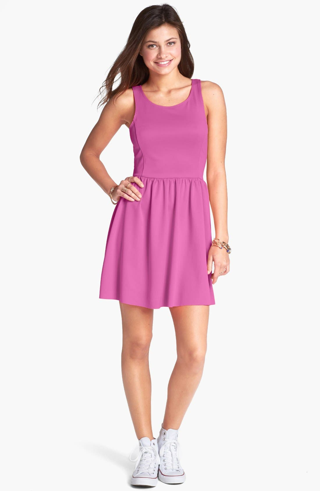 Alternate Image 1 Selected - Frenchi® Ponte Racerback Dress (Juniors)
