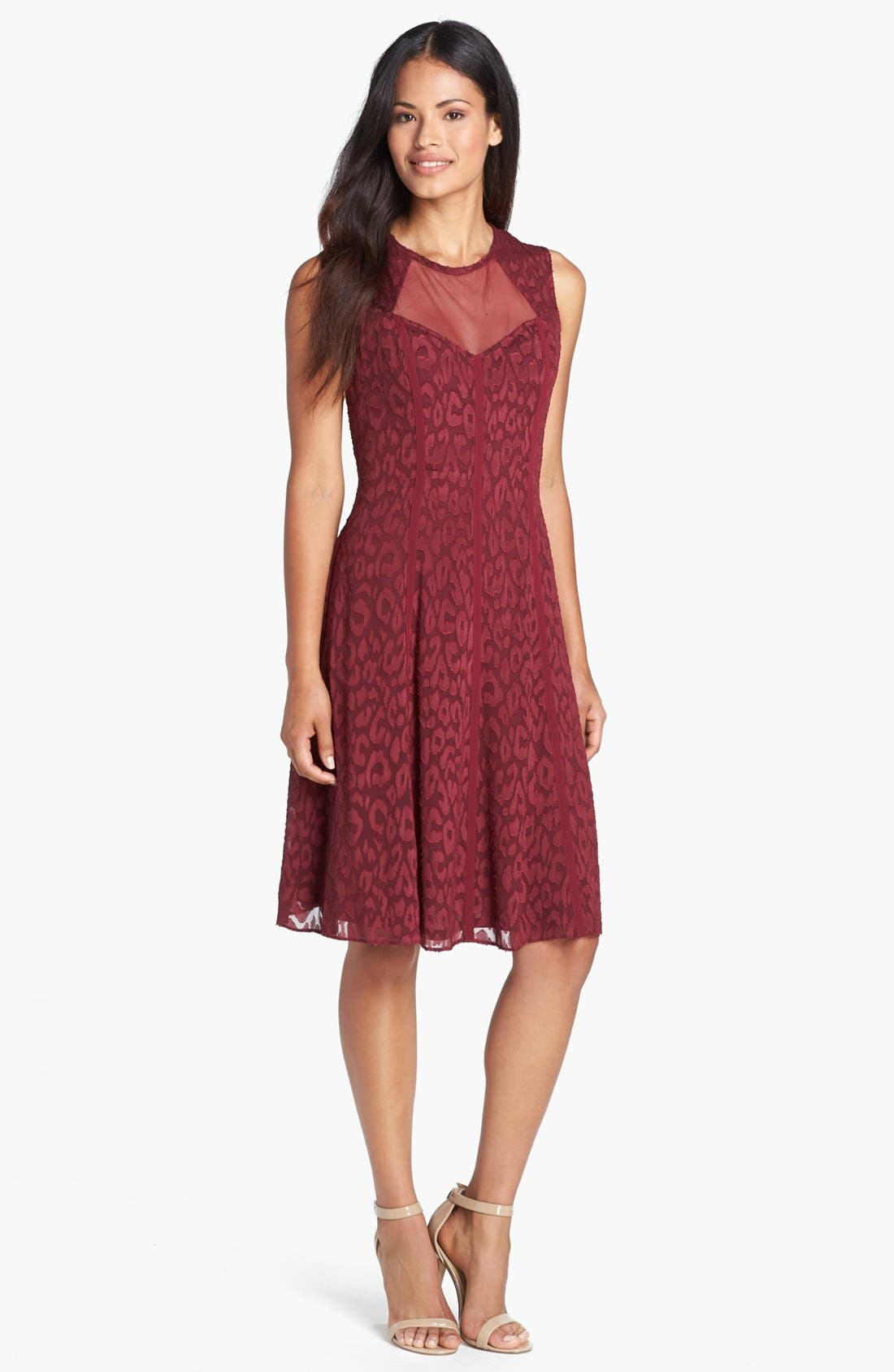 Main Image - Adrianna Papell Burnout Fit & Flare Dress