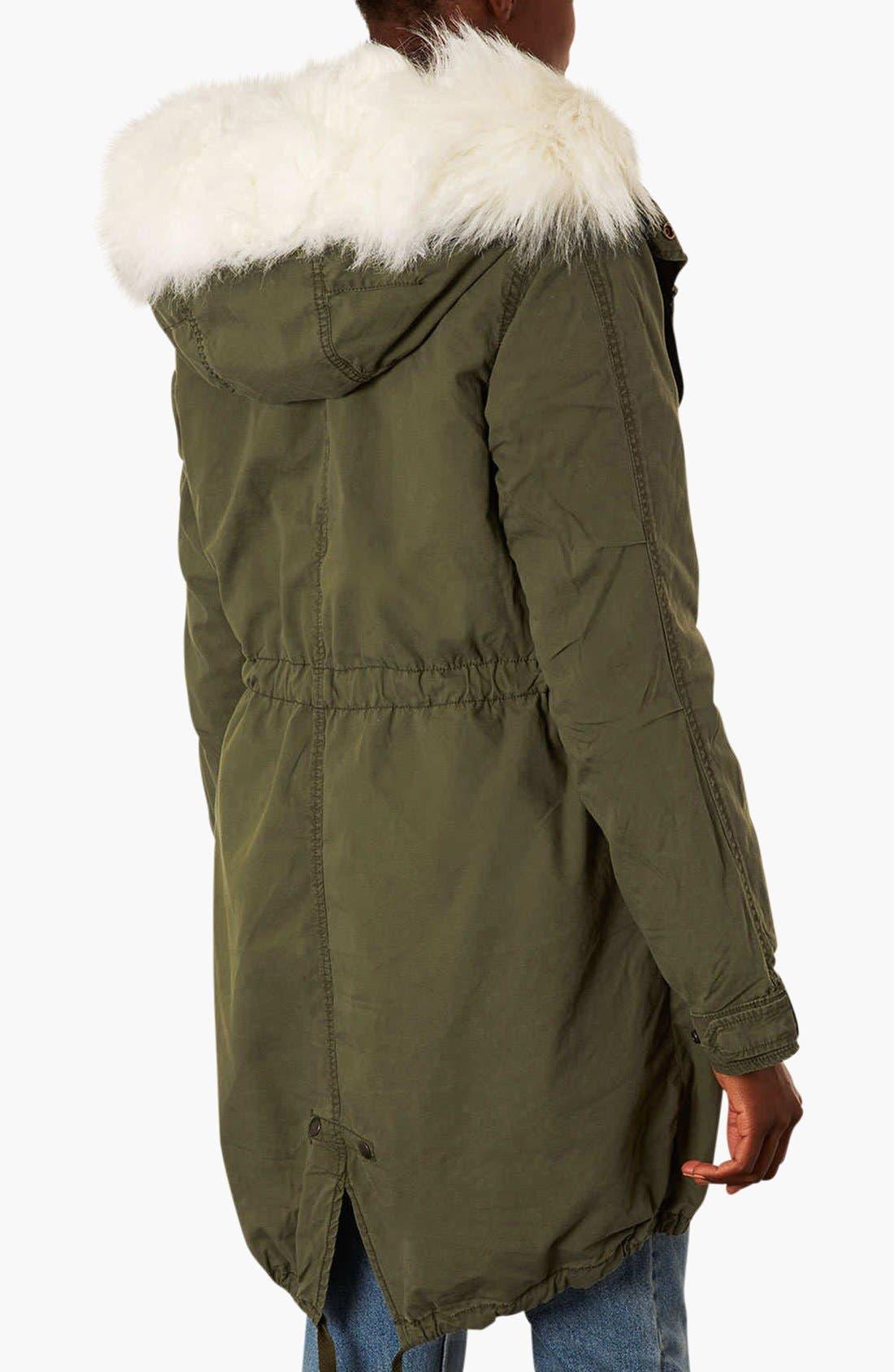 Alternate Image 2  - Topshop 'Joey' Faux Fur Lined Parka (Regular & Petite)