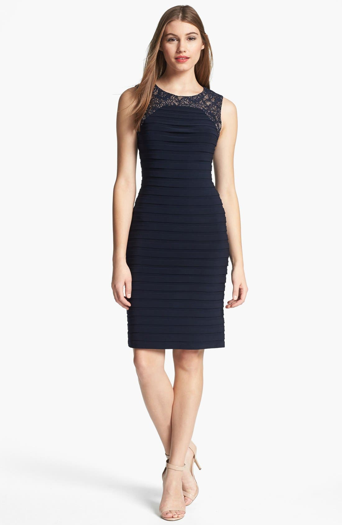 Main Image - Adrianna Papell Lace Yoke Shutter Pleat Sheath Dress (Petite)