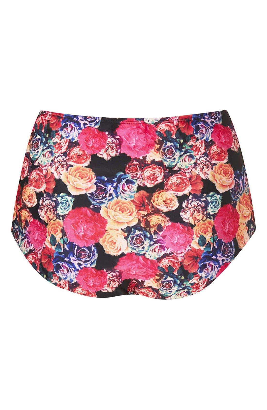 Alternate Image 2  - Topshop 'Trailing Rose' High Waist Bikini Bottoms